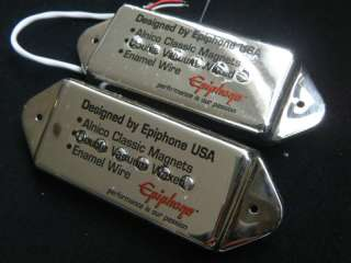 Pair Epiphone P 90 P90 Dog Ear Pickup Casino Chrome NEW