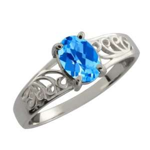 0.95 Ct Checkerboard Swiss Blue Topaz 18k White Gold Ring
