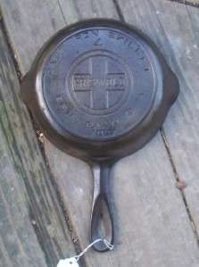 Vintage Large Block Griswold Erie Cast Iron # 4 7 Skillet w Heat Ring