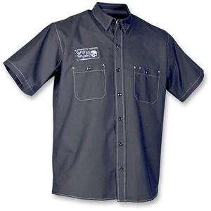 Throttle Threads Triple Threat Shop Shirt   Large/Black