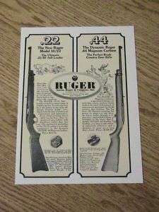 1964 RUGER 22 44 ADVERTISEMENT MAGNUM GUN AD RIFLE