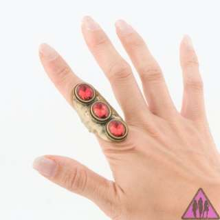 NEW URBAN STYLE ANTIQUE GOLD RED STONE KNUCKLE FAS RING
