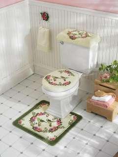 SHOWER CURTAIN BATH SOAP HOLDER TOILET COVER RUG FLOWER COUNTRY BIRD