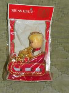 Shiny Brite Japan Christmas Ornament Angel on a Sleigh New MIP