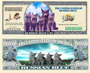 RUSSIAN BLUE CAT DOLLAR BILL (2/$1.00)