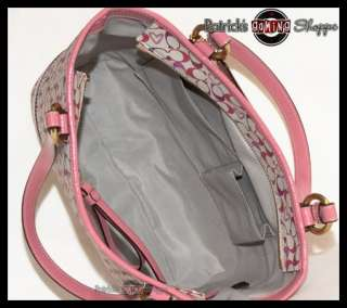 BNWT COACH SIGNATURE BIAS PINK HEART PVC TOTE 18426 COATED CANVAS