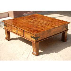 Solid Wood Square Drawer Sofa Cocktail Coffee Table Living Room