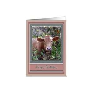 Calf Baby Cow Birthday Greeting Cards Card: Health