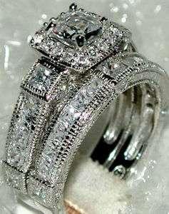 VINTAGE STYLE CZ WEDDING PRINCESS CUT RING SET Sz 7