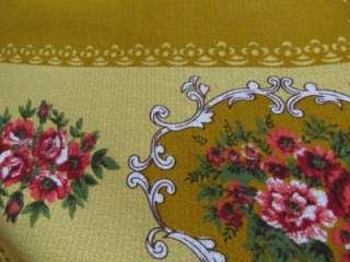 Vintage Retro Mustard Coloured Large Rectangle Floral Table Cloth