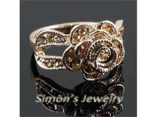 Gold GP ROSE FLOWER Ring w Swarovski Crystal JV152 SIZE