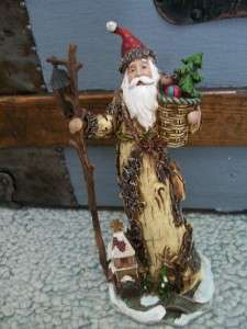 Carved wood look Rustic Old World Woodland Santa Toys Tree Christmas