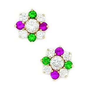 14k Yellow Gold Green and Red CZ Big Flower Fancy Post