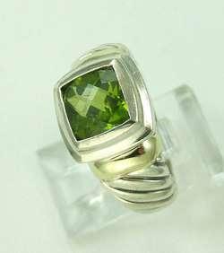 David Yurman 14K Gold Sterling Silver Peridot Cable Style Ring No