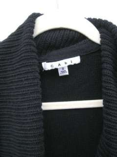 CABI Womens Gorgeous Black Open Front Long Sleeve Tunic Cardigan
