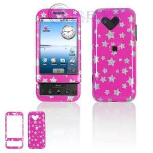 HTC Google G1/Dream Cell Phone Hot Pink/Silver Stars