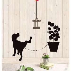 Black Dog Decor Mural Art Wall Paper Sticker LWST 18