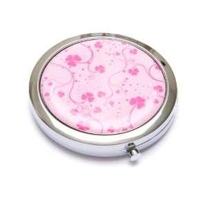 Pink Clover Metal Cosmetic Makeup Purse Mirror Beauty