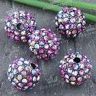 Ps756 5PCS PURPLE CRYSTAL DISCO BALL SPACER CHARMS BEADS FIT BRACELET