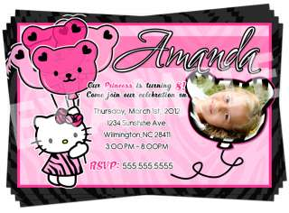 Hello Kitty Zebra Birthday Party Pink Invitation Printable / Digital