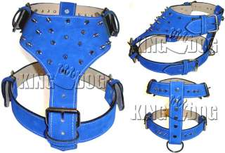 Large Suede Leather Dog Harness Spiked Pitbull