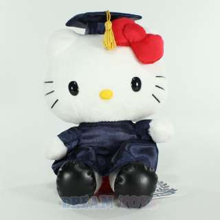 2012 8 Hello Kitty Navy Large Plush Doll Toy Grad Cap and Gown