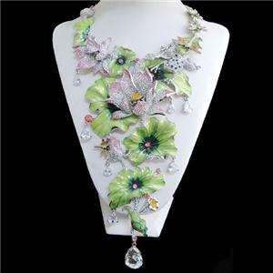 Lily Frog Swarovski Crystal Bud Dragonfly Drop Necklace Earring