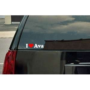 Love Ava Vinyl Decal   White with a red heart