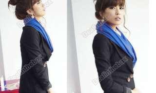 Women Pure Color Warm Scarf Shawls Wrap Neckerchief Cotton Knit Long 5