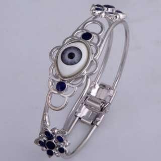 Silver Plated Blue Enamel Evil Eye Open ended Ellipse Bangle Bracelet