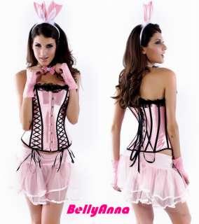5PCS Pink Sexy Bunny Girl Corset Bustier Tutu Skirt Halloween Costume