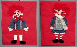 Vtg 70s Raggedy Ann and Andy Fabric Banner Arts Crafts
