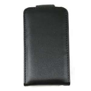 Black Leather Folio Flip Case / Pouch with Belt Clip