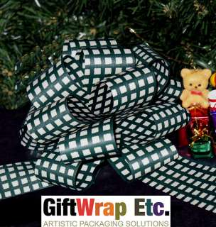 IVORY GINGHAM PULL BOWS CHRISTMAS GIFT BASKET PARTY DECORATIONS