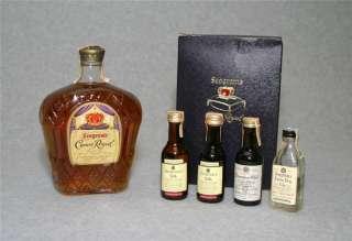 VINTAGE 1955 Seagrams Crown Royal Sealed FEDERAL Bottle + 4 Mini 1967