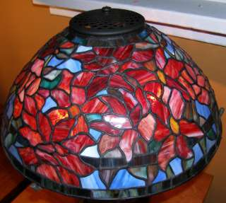 Tiffany Reproduction Stained Glass Peony Lamp Shade Reds Blues 16