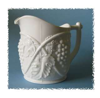 Duncan & Miller milk glass Water pitcher Grape pattern