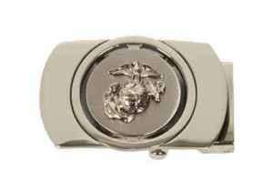 Mens Belt Silver Buckle with Eagle Globe and Anchor