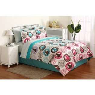 Bedding Girl Pink Purple Lime Green Teal Peace Sign Twin Comforter Set