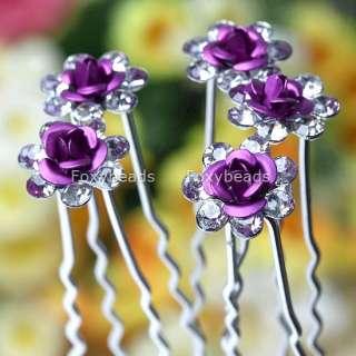 50p PURPLE Rose Crystal Bridal*Party Jewel Hair Pin New