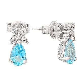 Blue Topaz and 10K White Gold Teardrop Earrings with Diamond Accents