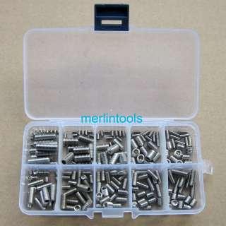 200Pcs Stainless Steel Hex Socket Set Screw Assortment Kit