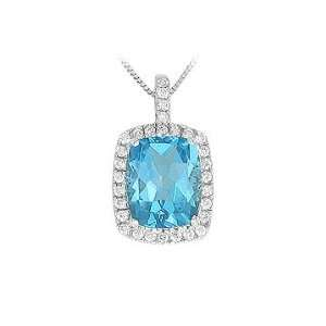 Natural White Round Diamond (SI Clarity,G H Color) and Blue Topaz