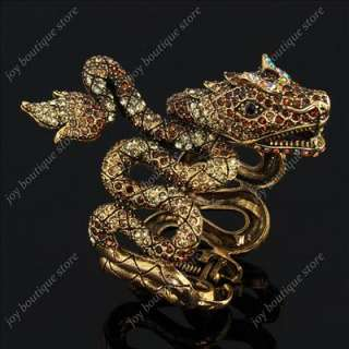 Gold Swarovski Crystals Dragon jewelry Bangle Bracelet