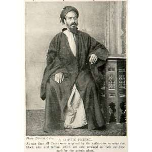 1918 Print Portrait Coptic Christian Egyptian Priest Robe
