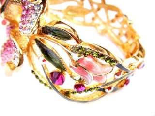 Orchid Flower PINK Swarovski Crystal 18K GP Bracelet