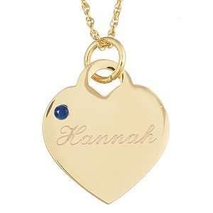 September Engraved Birthstone Heart Charm Pendant Jewelry
