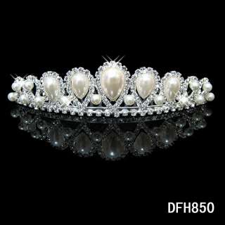 Wedding Bridal Pageant Prom Pearl crystal tiara crown comb 0850
