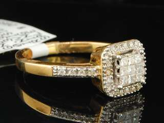 YELLOW GOLD PRINCESS CUT DIAMOND ENGAGEMENT RING BRIDAL SET
