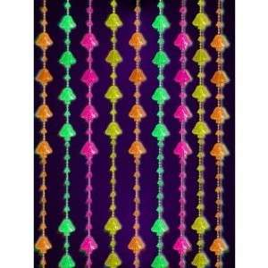 beaded curtains black light reactive neon peace sign